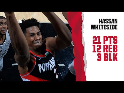 Hassan Whiteside (21 pt, 12 reb) Highlights | Trail Blazers at Spurs | November 16, 2019