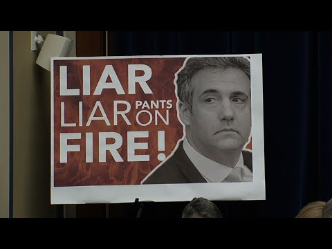 "As President Donald Trump's former lawyer Michael Cohen testifies before the House Oversight and Reform Committee, Republicans have spent much of their time calling him a liar, including a large poster that read: ""Liar, liar pants on fire."" (Feb. 27)"
