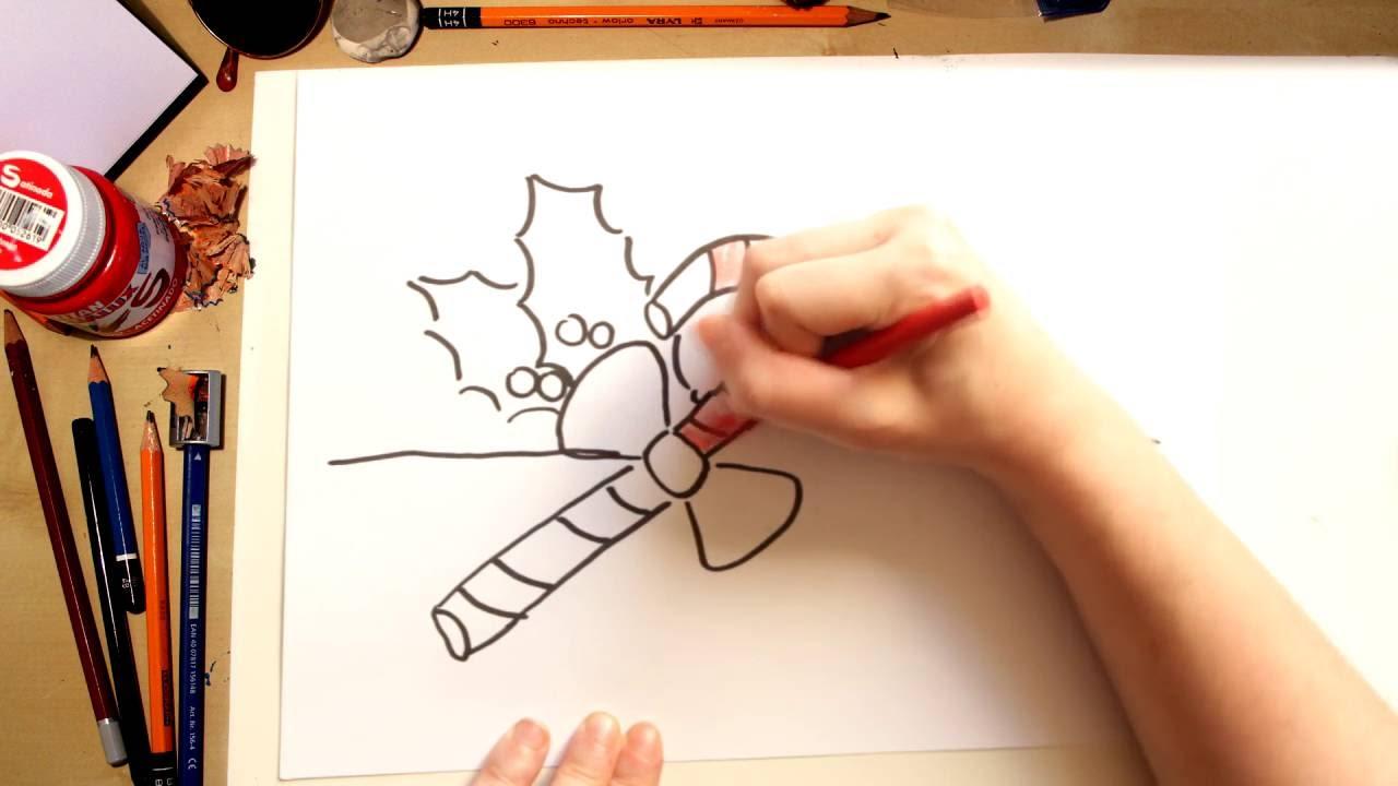 Como desenhar uma Bengalinha de Natal - desenhos de natal para crianças