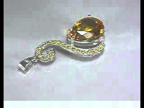 Подвеска с желтым цитрином - талисман знак зодиака Дева серебро 925