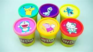 Play Doh Learn Colors Peppa pig, Doremon, Pikachu DIY Ice Cream Kinder Surprise Eggs Toys