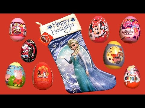 Elsa Stockings Surprise Christmas Eggs GlitziGlobes Barbie Kinder Surprise Peppa Disney Frozen