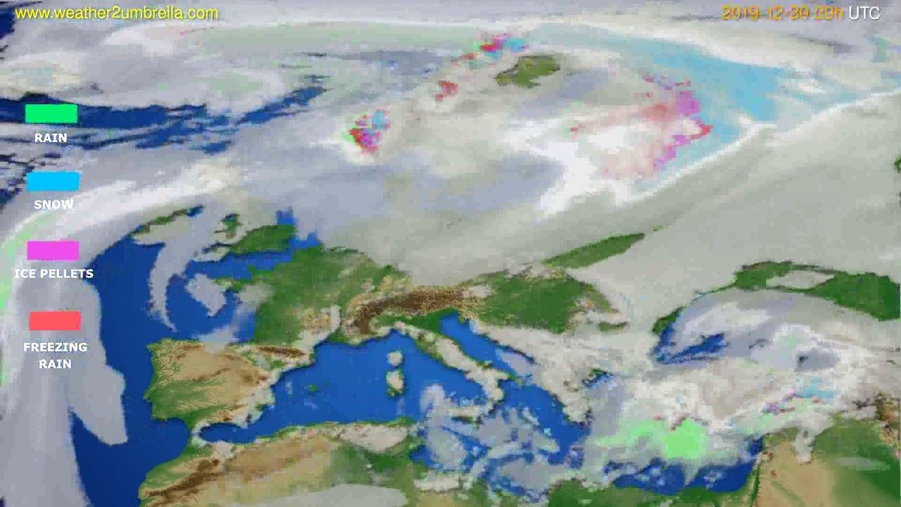 Precipitation forecast Europe // modelrun: 00h UTC 2019-12-29