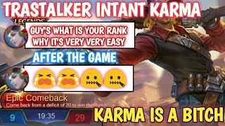 BEST INSTANT KARMA | WHEN TRASHTALKER CELEBRATE TOO EARLY | KARMA IS A B*TCH | MOBILE LEGENDS