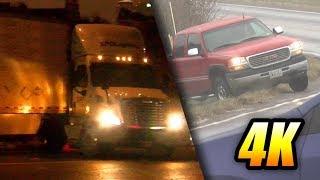 Icy Road MADNESS! Compilation in 4K: Car & Truck Jackknifes, Spins, Slides