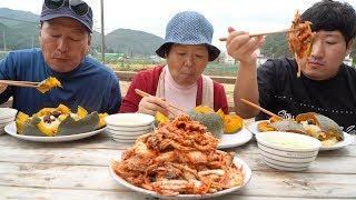 빨간 배추 겉절이와 달달한 단호박 밥~ (Kimchi & Sweet pumpkin rice) 요리&먹방!! – Mukbang eating show