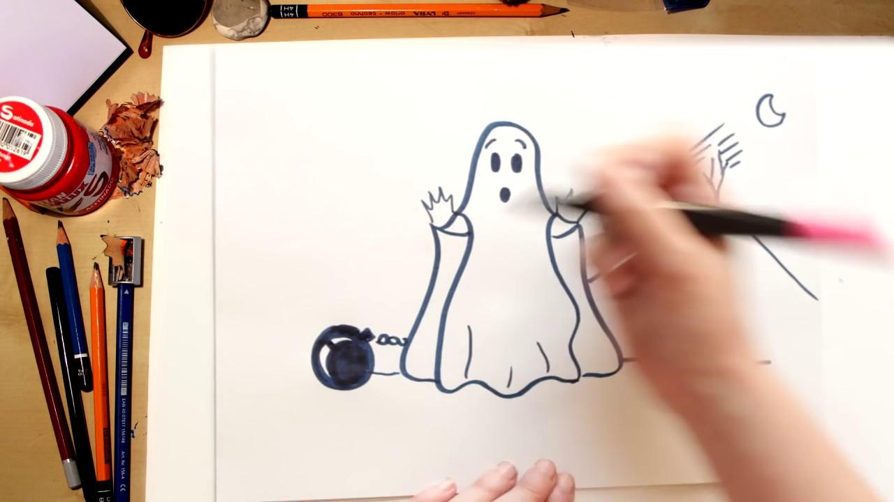 Como desenhar um Fantasma -  desenhos de Halloween para crianças