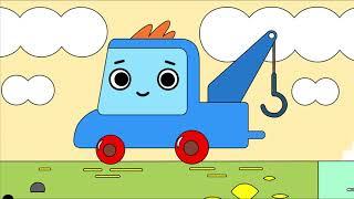 Мультфильм про машинки -  Грузовичок Пик - Раскраска - Носорог, который не умел плавать