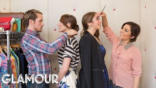 Winged Eyeliner and the Perfect Bun - Elevator Makeover | Style & Beauty | Glamour