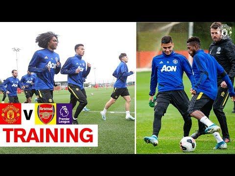 Manchester United train ahead of Arsenal clash | United v Arsenal | Premier League