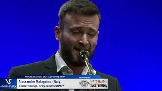 Alessandro Malagnino plays Concertino by J. RUEFF – Andorra Sax Fest FINAL ROUND