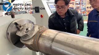 Automatic welding hydraulic cylinder on rod end hydraulic cylinder end cap welding machine youtube video