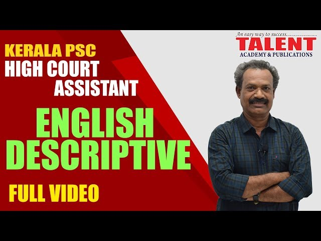 Kerala PSC English Descriptive for High Court Assistant Exam | Letter & Essay Writing | FULL VIDEO