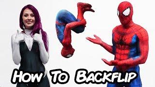 Spiderman Teaches How to Backflip (Spider verse Parkour tutorial)