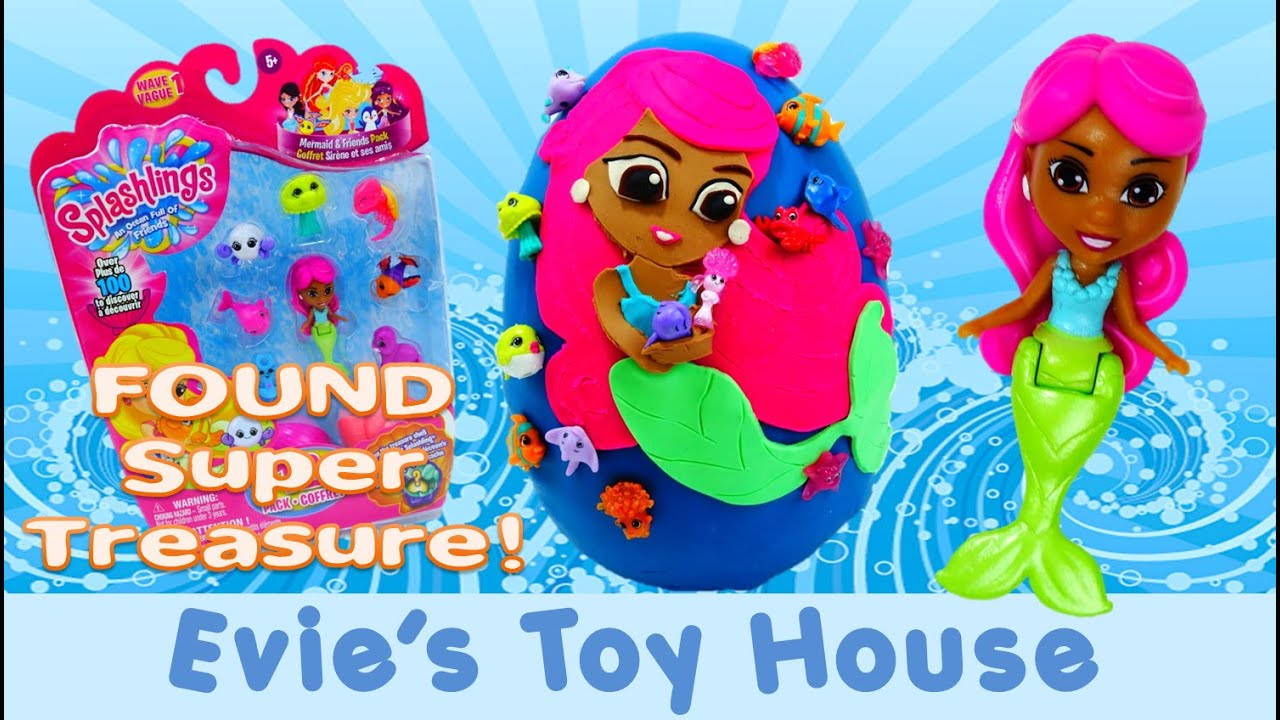 12 Pack Splashlings Mermaid and Splashlings Giant Playdoh Egg with Super Treasure | Evies Toy House