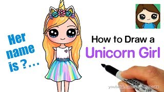 How to Draw a Unicorn Cute Girl Easy