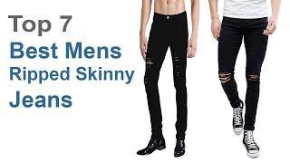 Best Mens Ripped Skinny Jeans | Top 7 Best Cheap Mens Ripped Skinny Boyfriend Black Denim Jeans.