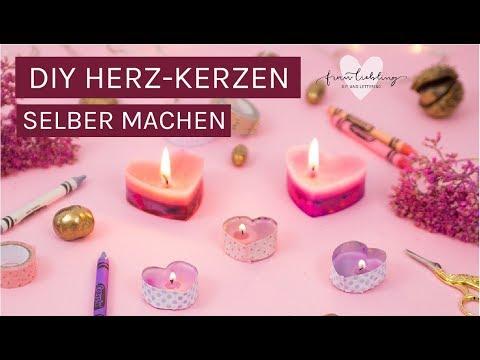 DIY Deko und Geschenk aus Wachsmalstiften: Süße Herz-Kerzen selber machen 💖