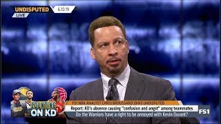 "UNDISPUTED | Chris Broussard DISAPPOINTED KD's absence causing ""confusion and angst"" among teammates"