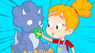 Baby dinosaur is lost, let's find its family! | Groovy The Martian educational cartoon for kids