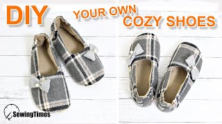 DIY Your Own Cozy Shoes 룸슈즈만들기 | How To Make Slippers The Size You Want. [sewingtimes]