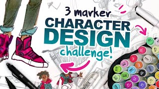 MAKING 3 COLORS LOOK LIKE MORE? | 3 Ohuhu Marker Character Design Challenge