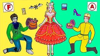 Paper Dolls Dress Up - Good Vampire Girl Become Princess Dress Handmade - Barbie Story & Crafts