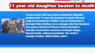 Parents beat 11 year old daughter to death for witnessing abomination