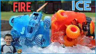 Monster Truck Monday Monster Jam Fire and Ice FROZEN Play at Home with Monster Trucks