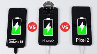 iPhone X vs Galaxy S8 vs Pixel 2 - Battery Charging SPEED Test