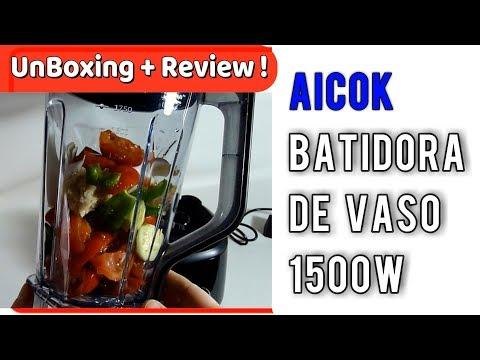 Aicok Batidora de Vaso, 1500W Jarra 2 Litros Receta en la Descripción | UnBoxing  Review en Español