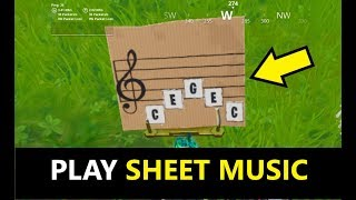 Play the sheet music at an oversized piano (Fortnite Season 10 week 6 BOOGIE DOWN Challenges)