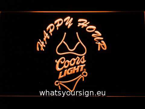 Coors Light Bikini Happy Hour LED Neon Sign