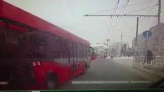 ДТП с автобусом и троллейбусом в Казани