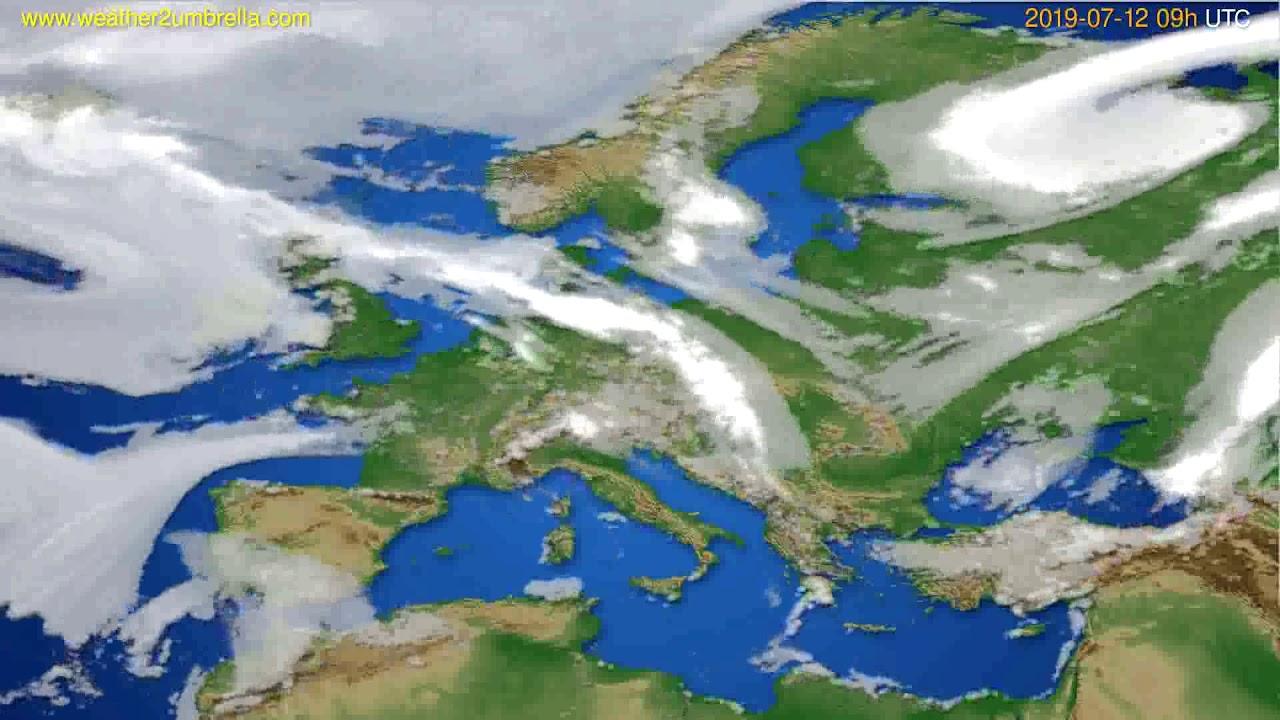 Cloud forecast Europe // modelrun: 12h UTC 2019-07-10