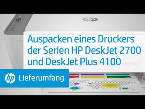 Auspacken eines Druckers der Serien HP DeskJet 2700 und DeskJet Plus 4100