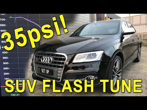 Flash tuning an Audi SQ5 twin turbo daily driver to 35PSI! Dyno, 0