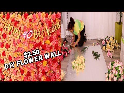 Como hacer PARED DE FLORES  /mural de flores dollar tree