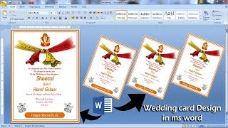 Married invitation Card Design in ms word || Ready to Print || Wedding Card Design in ms word |||