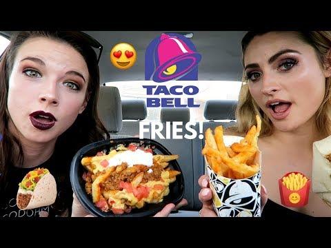 Taco Bell FRIES Taste Test! Supreme nacho fries, crunch wrap, cheesy gordita crunch! Car Mukbang