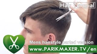 Mens hairstyle parted version. parikmaxer tv USA