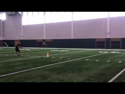 Forward hop into med ball underhand forward throw