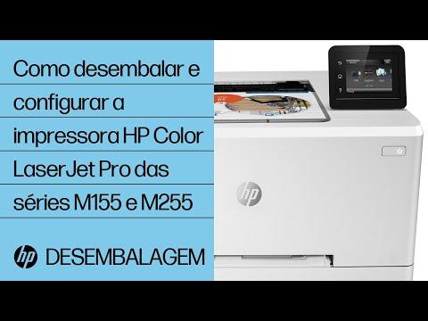 Como desembalar e configurar a impressora HP Color LaserJet Pro das séries M155 e M255