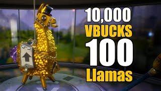 10,000 VBucks for 100 Llamas! | Mythic Loot | Fortnite Opening Part 1