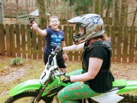 Teaching Mom to ride a dirt bike