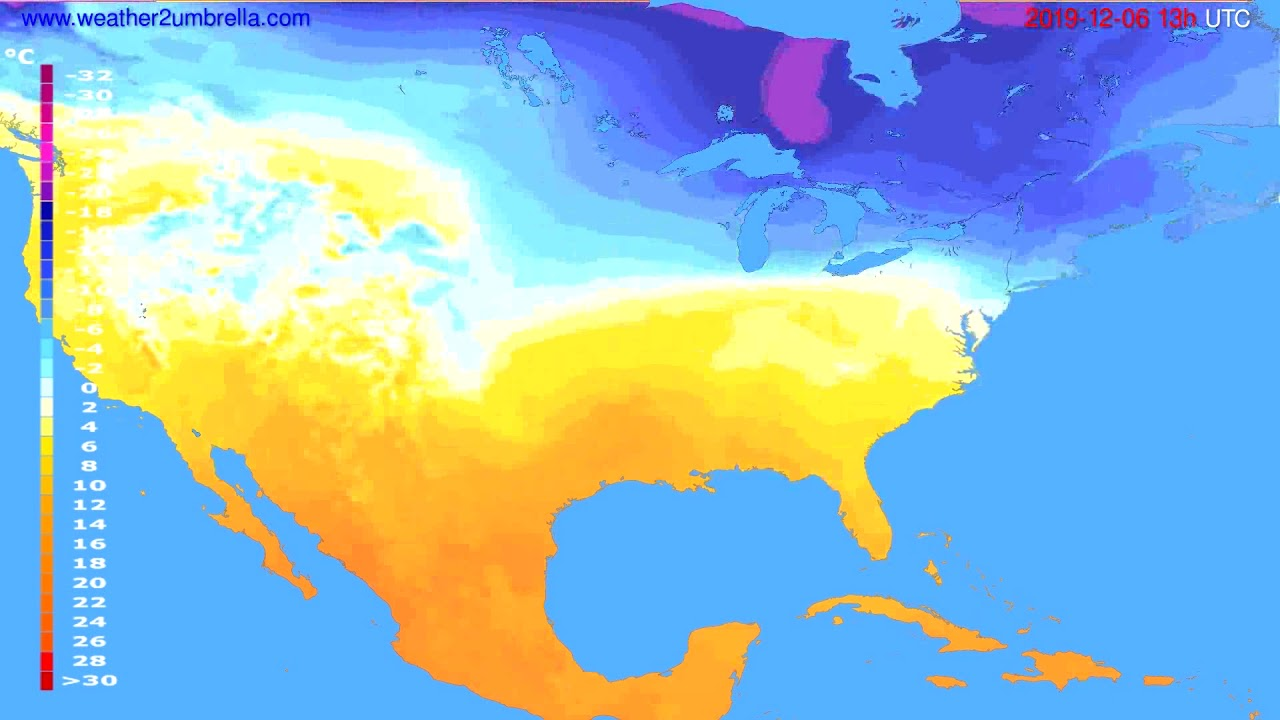 Temperature forecast USA & Canada // modelrun: 00h UTC 2019-12-05