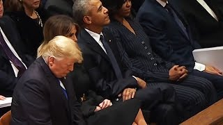 CRINGE: Trump Ignored by Presidents at Bush Funeral