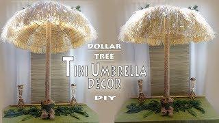 Tiki Umbrella DIY / Luau Theme Decor / Dollar Tree DIY /  Party Decor