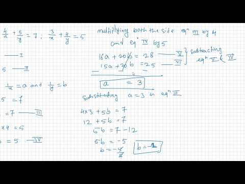 Pair of linear equation in two variables or Simultaneous equation by Reducible Method
