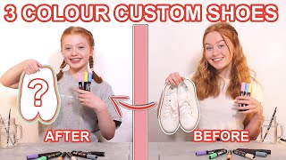 TWIN TELEPATHY 3 COLOR CUSTOM PAINTING SHOES *DIY Shoe Art Makeover Challenge | Ruby And Raylee